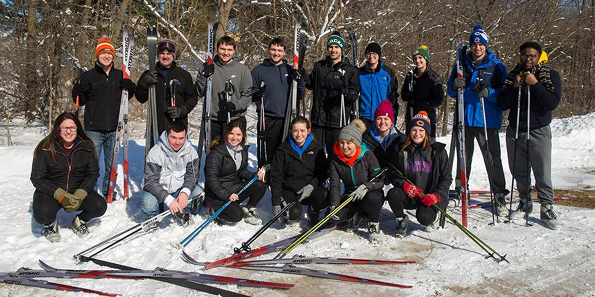 Students involved with creating cross-country skiing