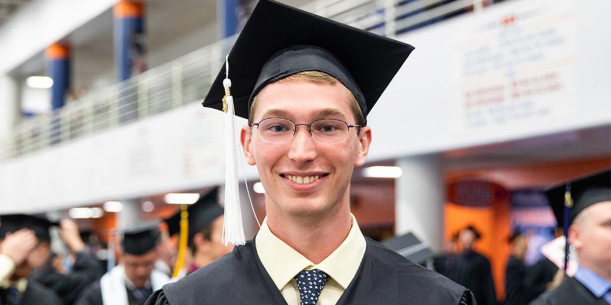 Kyle Engels at Commencement on May 11, 2019