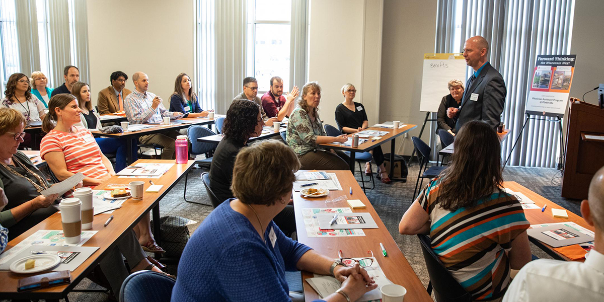 Representatives from the Master of Physician Assistant Studies program at UW-Madison joined UW-Platteville representatives and area health care professionals to discuss expanding UW-Madison's PA program to UW-Platteville.