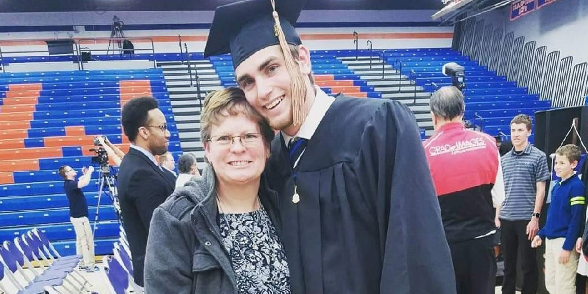 Quinn Crubel with his mom at graduation