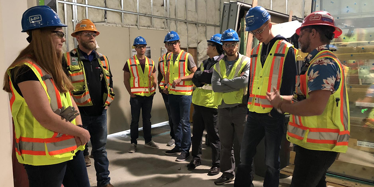 Jon Martin, of Hensel Phelps – and a graduate of UW-Platteville's Building Construction Management program – gave the students a tour of several Hensel Phelps construction projects at the at the Los Angeles International Airport.