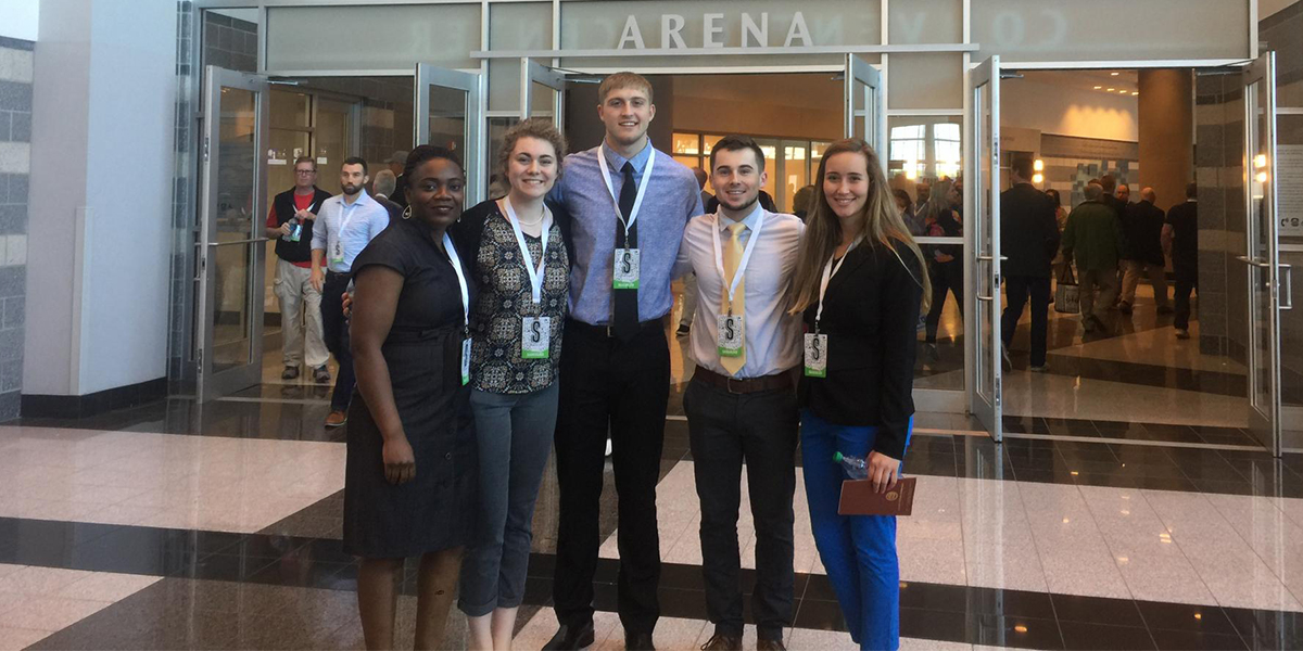 Dr. Lucie Kadjo, Amalia Adrian, Justin Fox, Jordan Burns and Carlie Rademacher