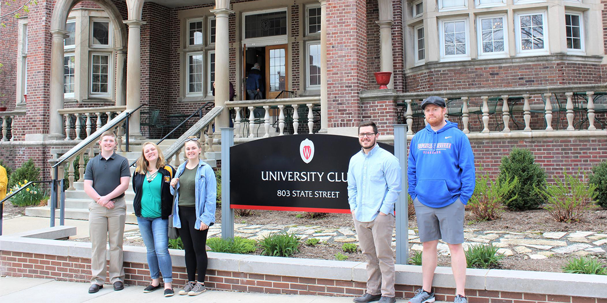 Matt Hugill, Andriea Hilger, Madisyn Fons, Mitchel Dennert and Mitchel Hoppman, pictured in front of the University Club where the Cold War lecture by Professor Giuliana Chamedes took place.