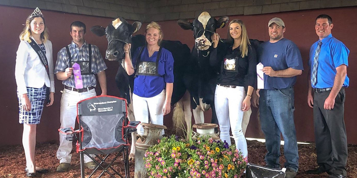 A cow in the Senior 3-Year-Old class ranked second in its class and went on to receive the title of Reserve Intermediate Champion, as well as Honorable Mention Grand Champion of the show. Pictured third from right is sophomore Maddy Gwidt, and pictured second from right is Cory Weigel, dairy enterprise manager at Pioneer Farm.