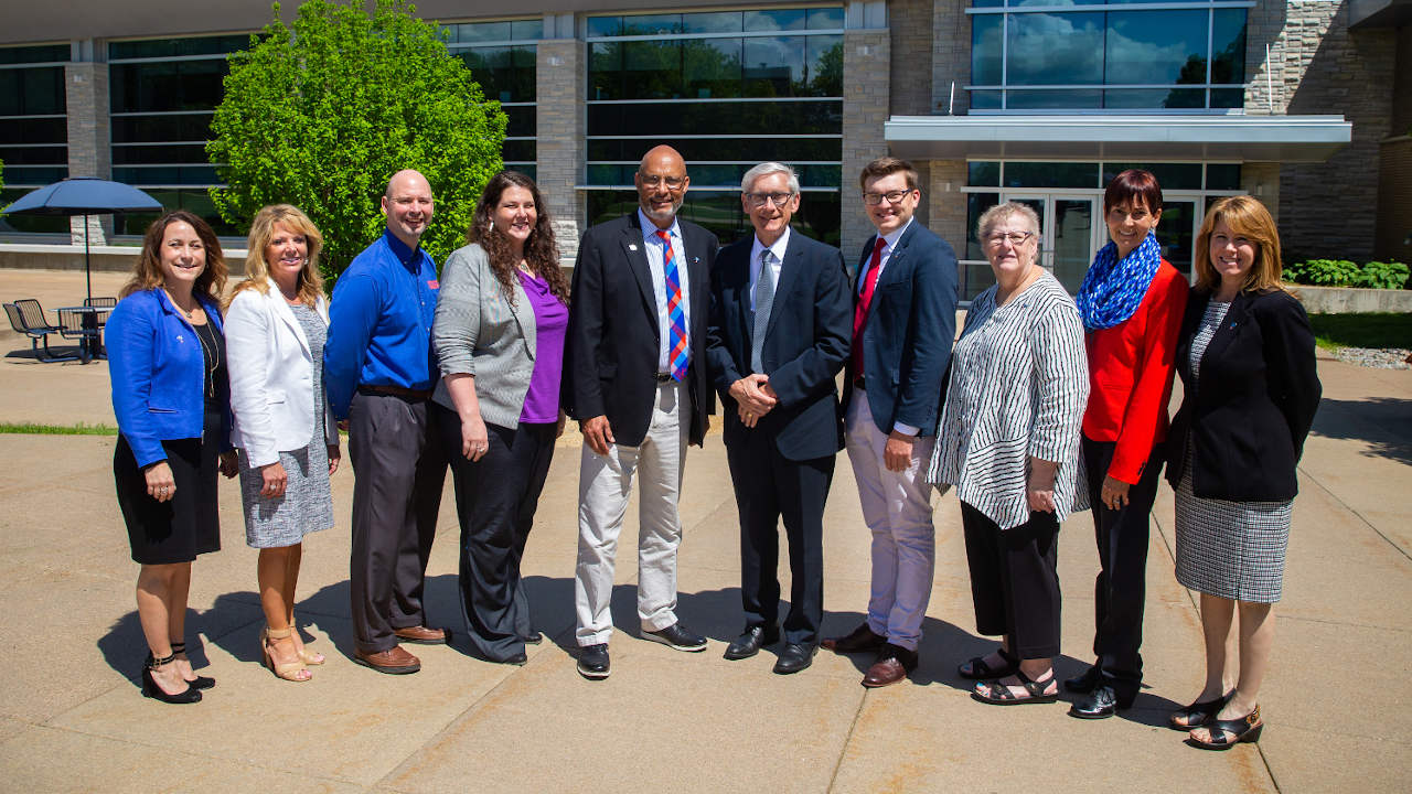 Governor Evers with UW-Platteville officials