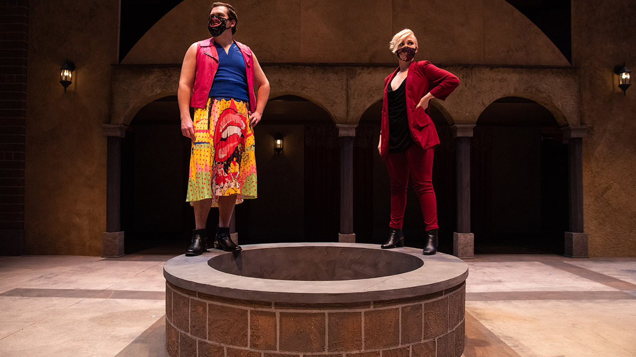 "Jon Hutson, as Kate, and Isabelle Sander, as Petruchio, in ""The Taming of the Shrew."""