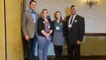 Pictured left to right are Dr. Eugene Tesdahl, Kaitlynn Niehaus, Dr. Rachel Lewis and Brandon Snyder.