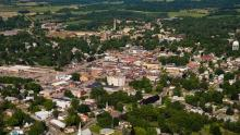 aerial view of downtown Platteville and campus